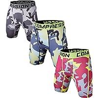 Holure Men's 3 Pack Performance Compression Shorts Gym Running Base Layer Shorts Sports Undershorts