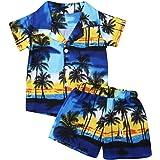 Bebé Niños Traje de 2 Piezas Conjunto Top Camisa de Manga Corta Pantalón Corto Camiseta con Estampado Infantil Árbol Ropa Ver