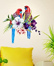 Decals Design 'Pretty Tropical Birds on Floral Branch' Wall Decal (PVC Vinyl, 60 cm x 45 cm x 60 cm)