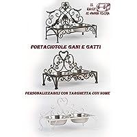Porta ciotole Portaciotole cani e gatti in ferro battuto stile Shabby Vintage personalizzabili con targhetta nome o…