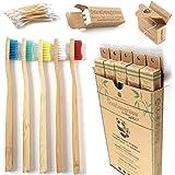 BAMBOOGALOO Cepillo de Dientes Orgánico Bambú x5 -Cepillos de Dientes de Bambú con GRATIS Bastoncillos de Bambú y Hilo Dental