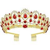 Corona da regina, stile vintage con strass e cristallo, tiara per matrimonio (colore rosso), per ragazzine e donne