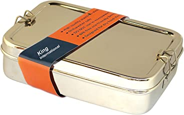 King International 100% Stainless Steel Lunch Box ,Bento School Lunch Box With Box Set Of 1 Piece