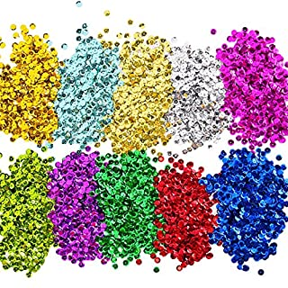 Loose Sequins Bulk Cup Sequin Iridescent Spangles for DIY Arts Crafts Making, 6 mm, 100 Gram (10 Colors)