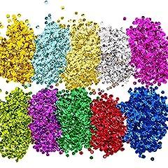 Idea Regalo - Paillettes Lustrini Coppa Sfusa Paillettes Sciolti per Fai Da Te Arte Produzione di Artigianato, 10 Colori, 6 mm, 100 Grammi