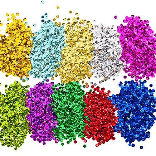 Lose Pailletten Bulk Cup Sequin Iridescent Flitter für DIY Kunsthandwerk Herstellung, 10 Farben, 6 mm, 100 Gramm (Pailletten Unter $10)