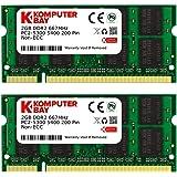 ذاكرة كمبيوتر محمول SODIMM 4GB 2X 2GB DDR2 667MHz PC2-5300 PC2-5400 DDR2 667 (200 PIN)
