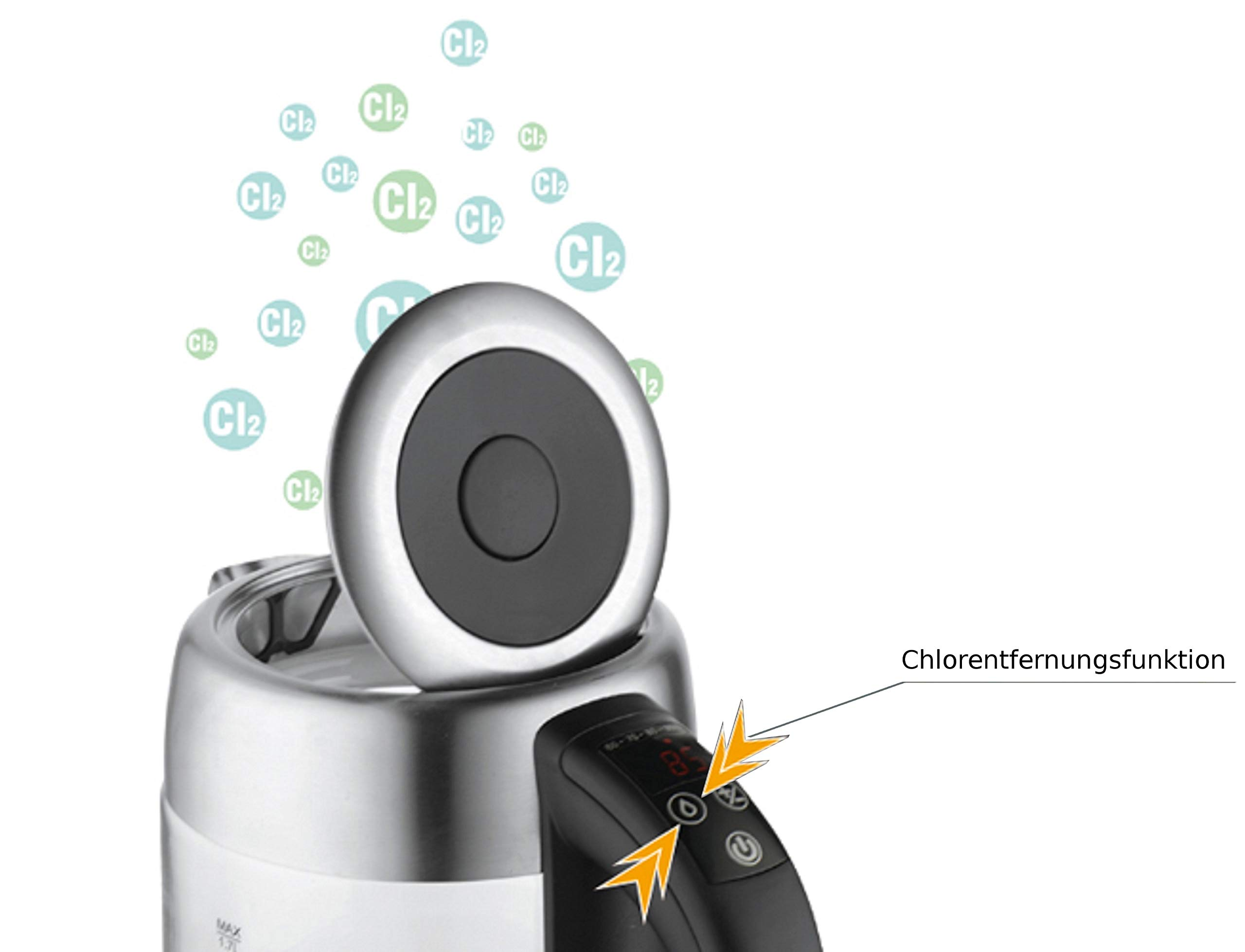 Glas-Edelstahl-Wasserkocher-Teekocher-Edelstahlwasserkocher-Elektrischer-Wasserkocher-2200-Watt-17-Liter-Warmhaltefunktion-LED-Beleuchtung-Temperatureinstellung-60C-100C