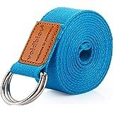 voidbiov D-ring spänne yogarem 1,85 eller 2,5 m, hållbart bomullsjusterbart bälte perfekt för att hålla poser, förbättrar fle