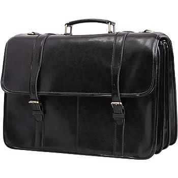 2c2cd1dcdc Leathario Men s Deluxe Shoulder Leather 15.6 Inch Laptop Briefcase Business  Office Bag Black