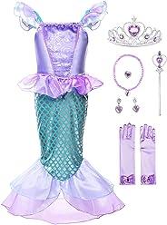 JerrisApparel Mädchen Prinzessin Meerjungfrau Kostüm Halloween Party Kleid