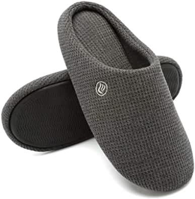 Men's Memory Foam Slippers House Slippers Comfort Knitted Cotton Blend Closed Toe Non Slip Home Shoes Indoor Outdoor