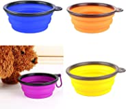 Emily Pets Silicone Portable Foldable Travel Friendly Water and Food Bowl for Dog and Cat-350ml (Set of 4 Bowls-Multi Color)