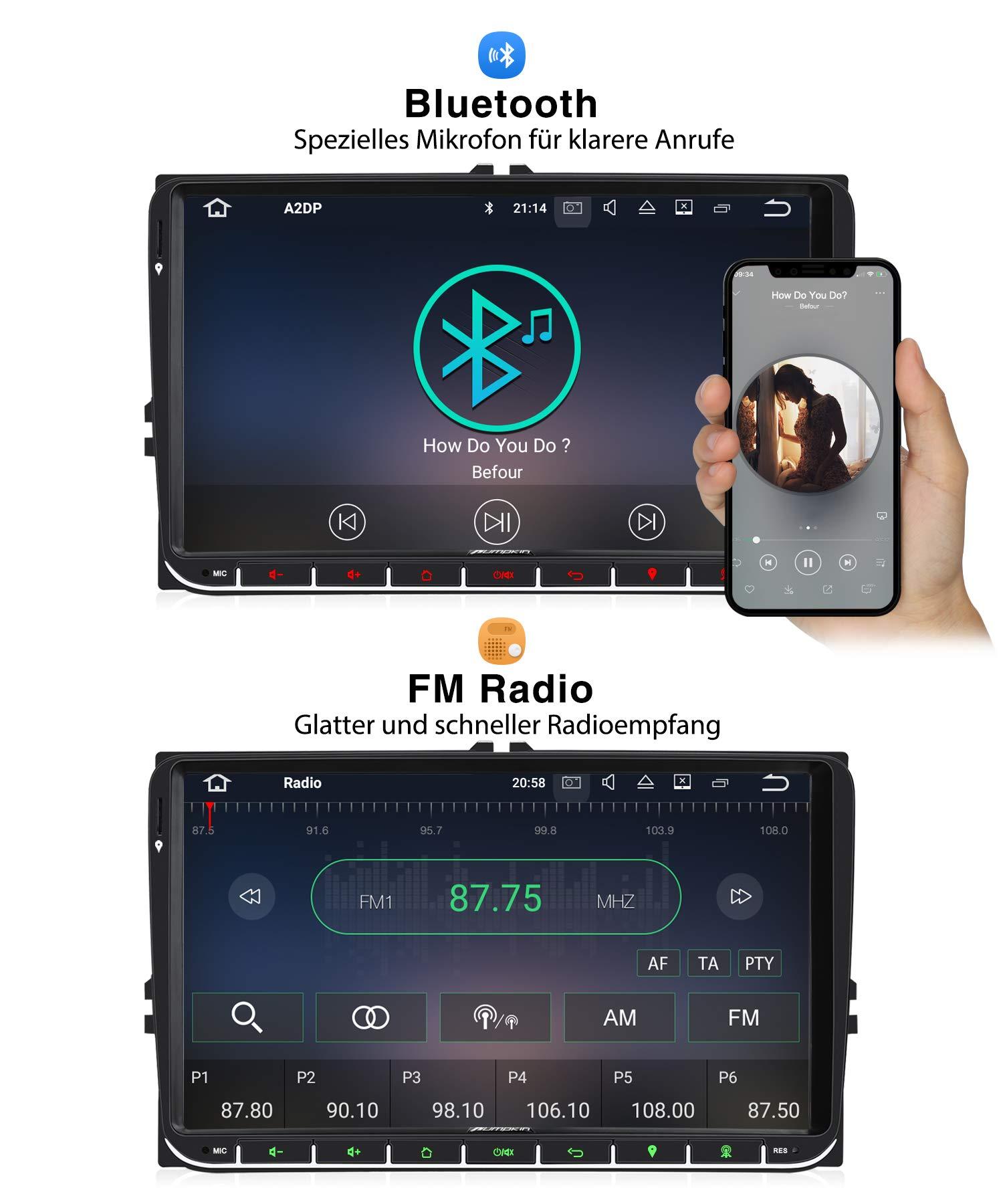 PUMPKIN-9-Zoll-Android-90-Autoradio-fr-VW-Radio-mit-Navi-Untersttzt-Bluetooth-DAB-USB-Android-Auto-WiFi-4G-MicroSD-2-Din