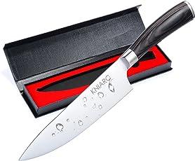 Kniarc Profi 20 cm Küchenmesser | Kochmesser / Chefmesser/ Allzweckmesser zum Schneiden| Sehr Scharfe Klinge | Rostfreier Stahl Köche Messer| Ergonomischer Komfort Holz-Griff