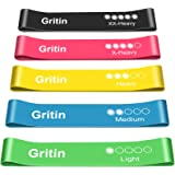 Gritin Resistance Bands, [Set of 5] Skin-Friendly Resistance Fitness Exercise Loop Bands with 5 Different Resistance Levels -