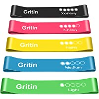 Gritin Resistance Bands, [Set of 5] Skin-Friendly Resistance Fitness Exercise Loop Bands with 5 Different Resistance…