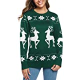 iClosam SuéTer De Navidad Mujer Manga Larga Elegantes ImpresióN Esencial PulóVer Sweaters Jersey De Punto para Mujers