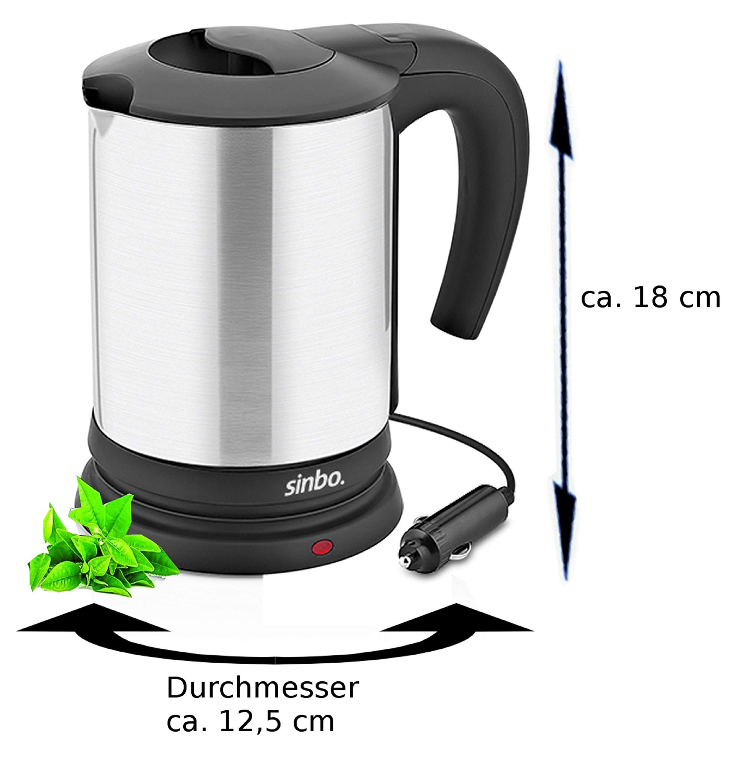 Reise-Wasserkocher-Camping-Wasserkocher-Mini-Wasserkocher-Campingwasserkocher-Camping-kettle-12-Volt-120-Watt-Hochwertiges-Edelstahl-1-Liter-Trockenkochschutz-Kein-Stromkabel