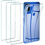 Leathlux Funda Samsung Galaxy A21s + 3 x Protector de Pantalla Samsung Galaxy A21s, Transparente TPU Silicona Funda + Cristal