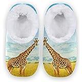 linomo Pantuflas de jirafa de animales africanos para mujer, pantuflas de casa para mujer, zapatos de casa, zapatos de dormit