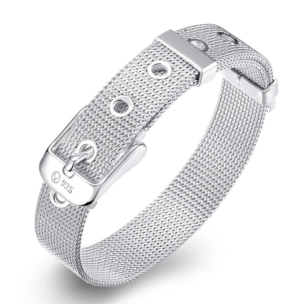 Designer Inspired Silver Mesh Belt Buckle Bracelet 10mm 925