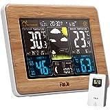 VORRINC radioväderstation med utomhussensor inomhus och väckarfunktion/temperatur/barometer/väckarklocka/fuktighet/månfas/klo