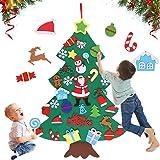 Huker Feltro Albero Natale, Feltro Albero di Natale con 32 Pezzi Ornamenti Staccabili. Albero di Natale Fai da Te per Bambini