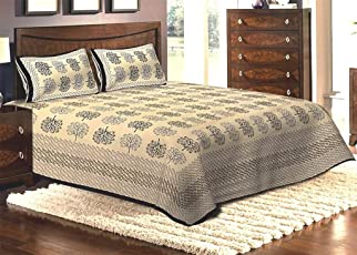 Jaipuri haat Traditional Baby Elephant Print Cotton Double Bedsheet with 2 Pillow Covers- King Size