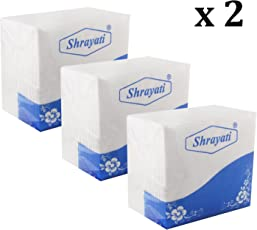Shrayati Bring Soft Elite Breakfast Tissue Paper Napkins can be use for Party Wedding and Daily use (Tissue Paper) White 30 * 30 cm Pack of 6