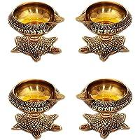 BrassLine Handmade Indian Puja Brass Oil Lamp - Kuber Diya Lamp Engraved Design Dia with Turtle Base (4 Quantity)