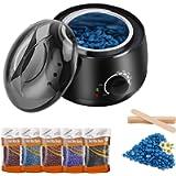 LKKRO Waxing Kit, Home Waxing Hair Removal kit, LKKRO Brazilian Wax Melting Pot with 5 Bags Hard Wax Beans & 10…