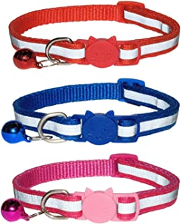 Adjustable Cute Kitten Collar Suitable for all Domestic Cats Tafeiya 3x Cat Collars Safety Collar With Quick Release Break Away Buckle and Bell Pack of 3