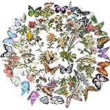 120pcs Stickers Autocollants Fleurs Papillons Plantes Auto-adhésif Gommette Sticker Scrapbooking Note Flower Décoration DIY C