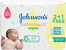 JOHNSON'S, Wipes, cottontouch, Pack of 168 wipes (2 + 1 Free)