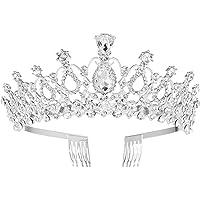 Frcolor Tiara da sposa con strass di cristalli, coroncina con pettine per sposa, matrimonio