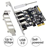 Superspeed PCI-E to USB 3.0 Expansion Card | Ubit USB 3.0 Card | USB 3.0 4-Port Express Card with 15 Pin SATA Power...