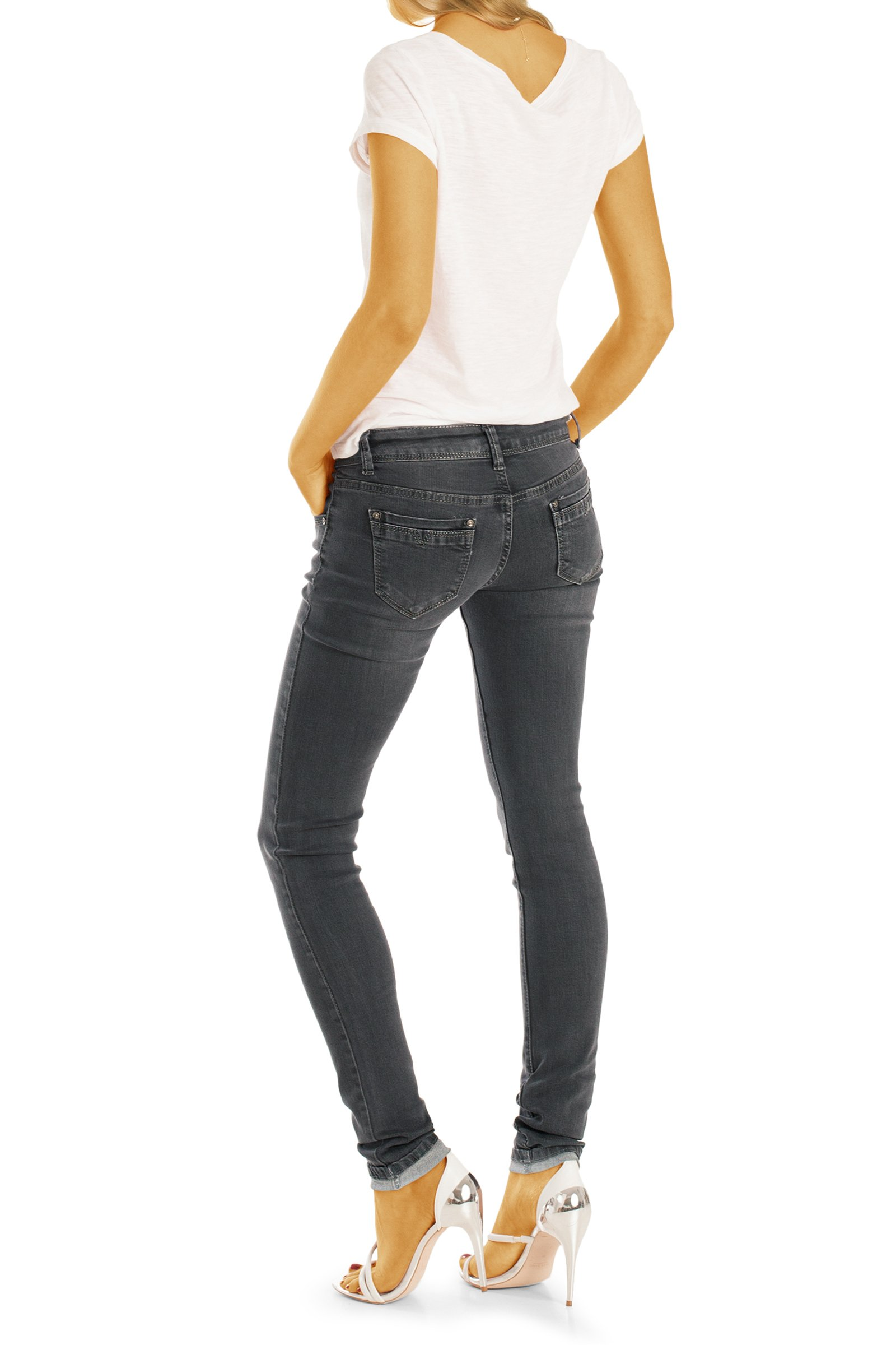 bestyledberlin Damen Röhrenjeans, Enge Stretch Jeans, Basic Skinny Hüftjeans j14l