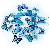 ViViKaya 3D Vlinderstickers, 24 stuks, vlinderstickers, decoratie-doe-het-zelf, babykamer, feestje (blauw)
