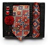 Axlon Formal Printed Polyester Necktie Set with Pocket Square, Brooch Pin and Cufflinks for Men (Free Size, Multicolour)