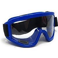 DesiKartz Motorbike Professional Motocross Atv/Dirt Bike Riding/Racing Transparent Goggles with Adjustable Strap (BLUE FRAME TRANSPARENT LENS)