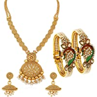 Sukkhi Dazzling Pearl Gold Plated Wedding Jewellery Kundan Peacock Meenakari Necklace Set & Kada Combo For Women…