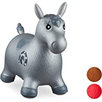 Relaxdays Animale Cavalcabile Cavallo, Giochi Gonfiabili per Bambini, BPA-free, Fino a 50 kg, Pompa Inclusa, Grigio