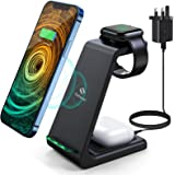 Wireless Charger 3 in 1 Charging Station, Saferell Qi-Certified Fast Charging Stand for iPhone 12/11 Pro Max/X/Xs Max/8/8 Plu
