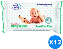 Cool & Cool Baby Wipes 64's Sensitive 6+6 Free Jumbo Pack