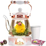 Coffret cadeau théière Buckingham Palace de la marque Teabloom et fleurs de thé - Théière en verre (1,2 l), couvercle en porc