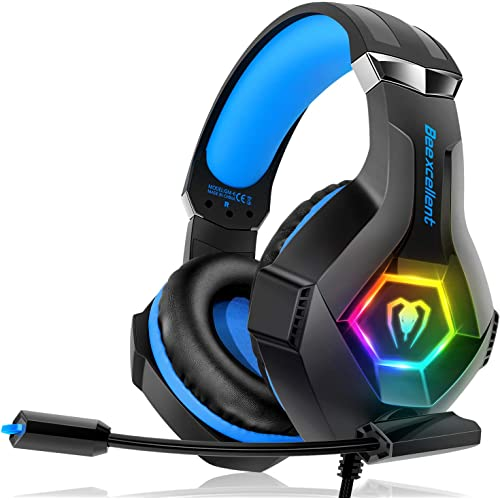 Cuffie Gaming per PS4 Xbox One, Multi-Platform Riduzione del Rumore Cuffie con Microfono Confortevole Stereo Bassi Profondi 3,5 mm LED per PC, PS5, Laptop, Mac, Smart Phone