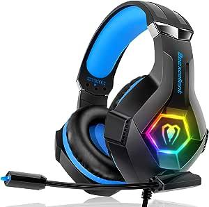 Cuffie Gaming per PS4 Xbox One, Multi-Platform Riduzione del Rumore Cuffie con Microfono Confortevole Stereo Bassi Profondi 3,5 mm LED per PC, PS5, Laptop, Mac, Smart Phone