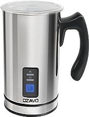 OZAVO Milchaufschäumer, elektrische Milk Frother, 240ml Kapazität, 500W Milchschäumer, Warm und Kaltaufschäumen für Kaffee, Cappuccino, antihaftbeschichtet, 360° Basisstation