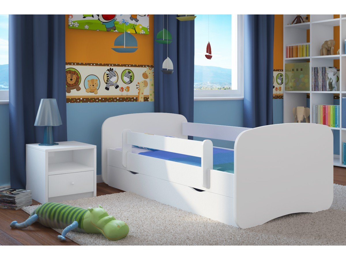 Single Bed BabyDreams - For Kids Children Toddler Junior 140x70 160x80 180x80 WITH DRAWERS AND WITH FOAM MATTRESS INCLUDED (White, 180x80) Children's Beds Home Bed with barriers - Internal Dimensions 140x70 160x80 180x80 Bed frame with load capacity of 120 kg, Fittings + installation instructions Universal bed entrance - right or left side, front barrier can be removed at later stage. 3